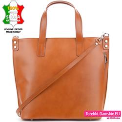 Jasnobrązowa torba w kolorze camel - duży model A4 z pionowym suwakiem