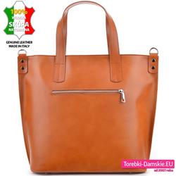 Skórzana włoska torba w pięknym jasnym odcieniu brązu