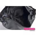Czarna skórzana pojemna torba z dwoma suwakami z przodu