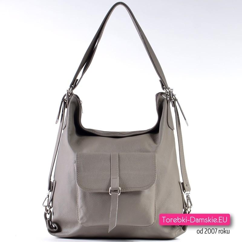 Ciemnobeżowa skórzana torebka i plecak damski w jednym - modny odcień