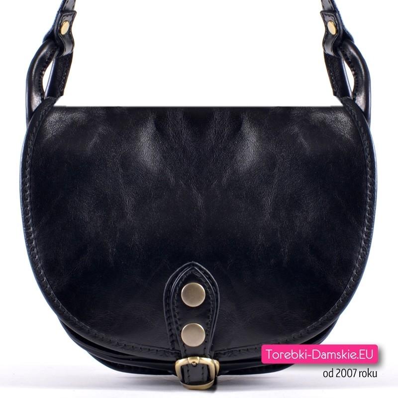 Czarna torebka crossbody włoska z czarnej grubej skóry