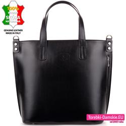 Czarna duża włoska torba ze skóry naturalnej