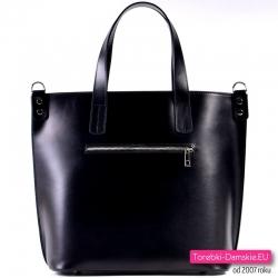 Czarna włoska miejska torba z kieszenią z tyłu
