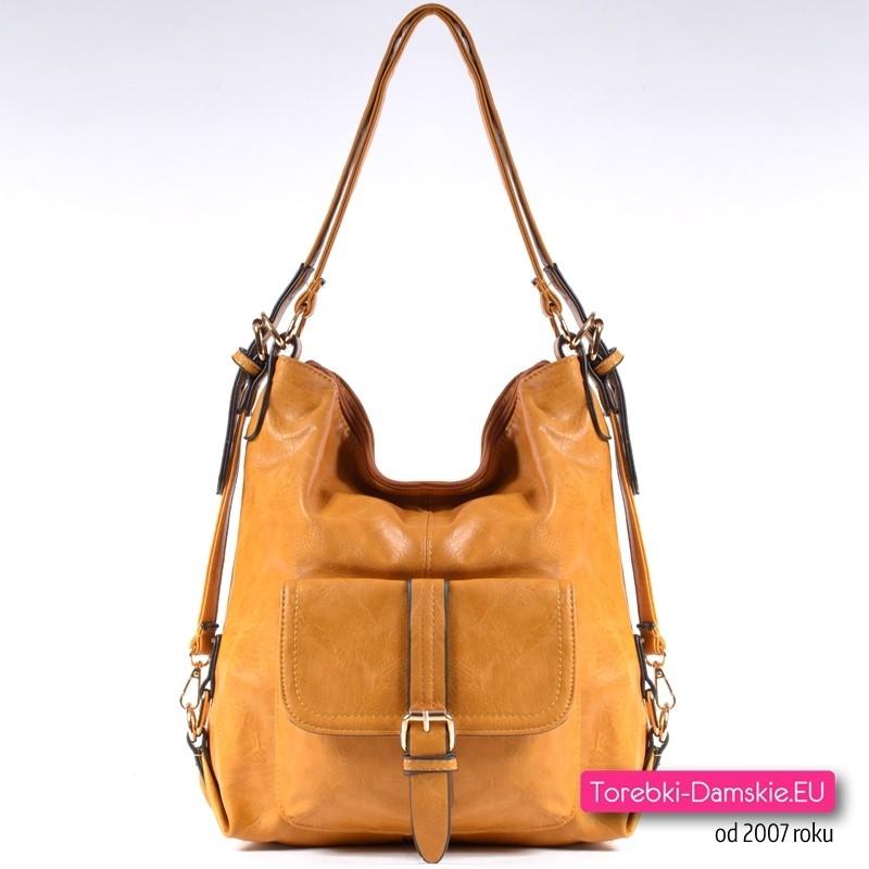 Żółty torebko - plecak damski