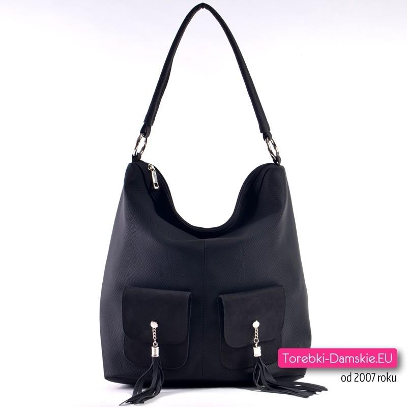Czarna torba damska z dwoma kieszonkami z przodu
