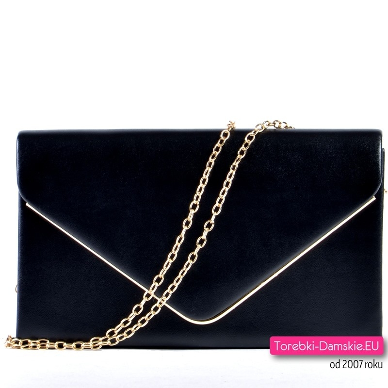 1dc8be62e2d4f Czarna torebka kopertówka koktailowa ze złotym łańcuszkiem