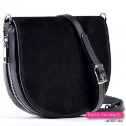 Czarna skórzana torebka włoska z zamszową klapą
