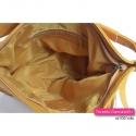 Żółta torebka skórzana z kieszenią z pionowym suwakiem