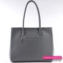Szara włoska torebka z kieszenią z tyłu - prostokątny kuferek