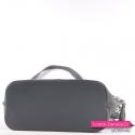 Szara torebka z płaskim usztywnionym spodem