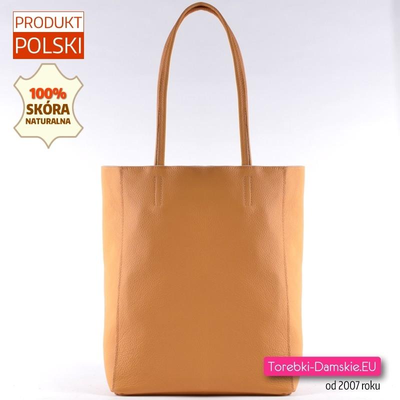 Żółta torba shopper ze skóry naturalnej