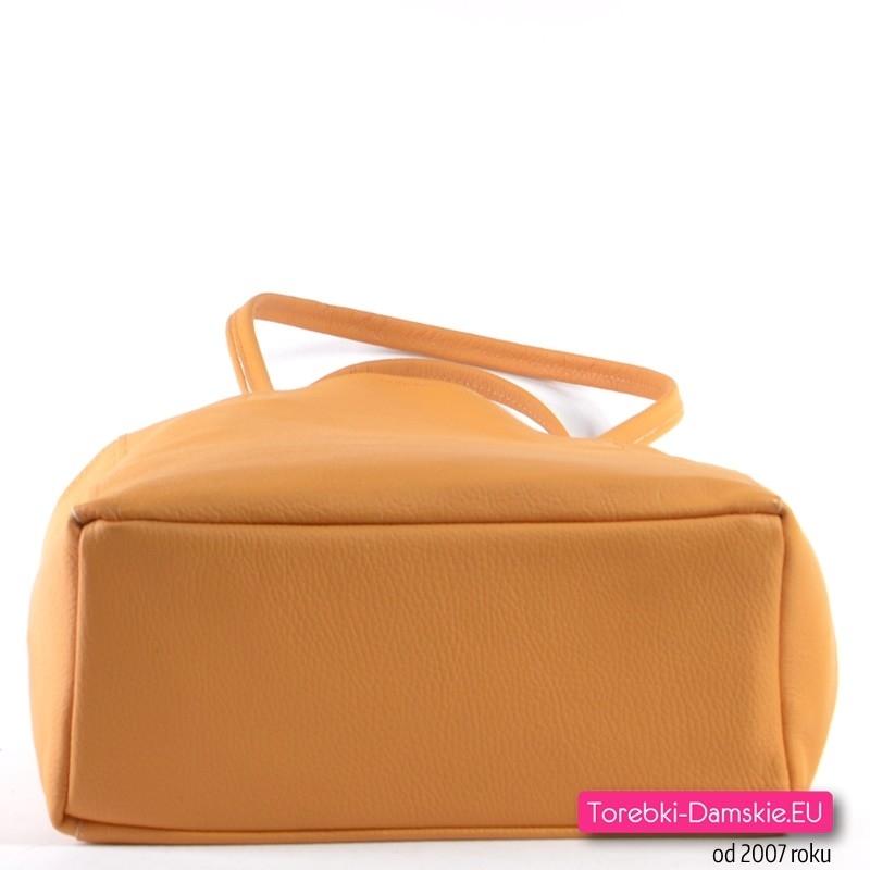 a5b5d2351800a Żółta torba shopper ze skóry naturalnej  Duża skórzana żółta torba z  płaskim spodem ...