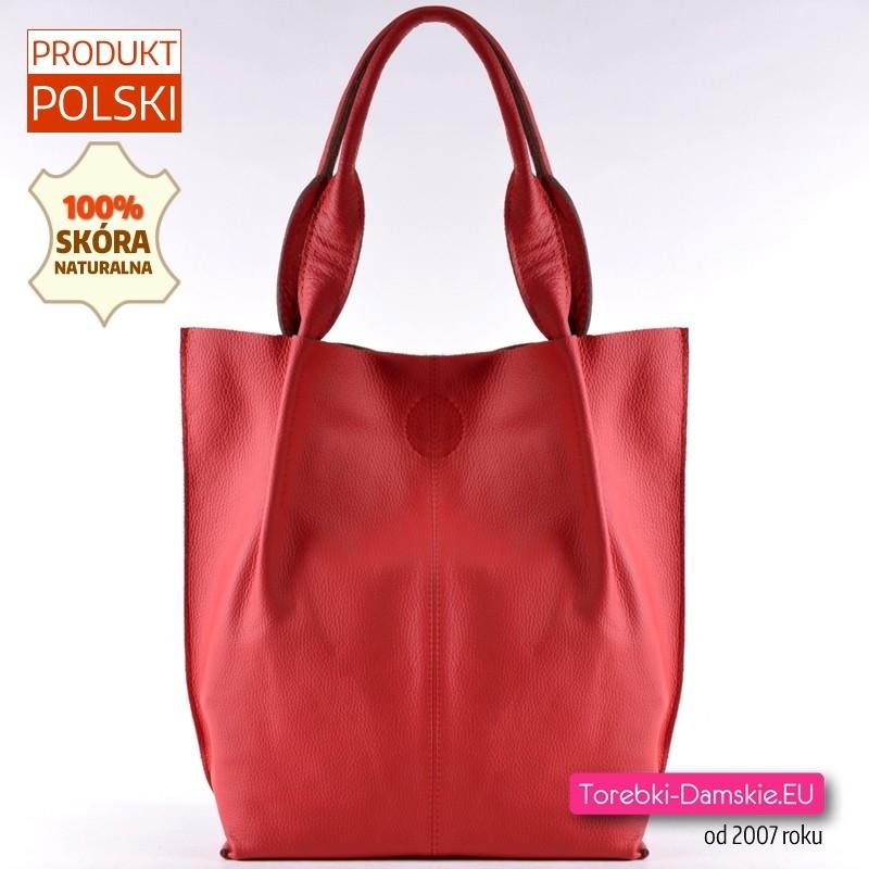 Czerwona torba shopper - SKÓRA NATURALNA
