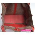 Duża funkcjonalna czerwona torba skórzana z kieszenią wewnątrz