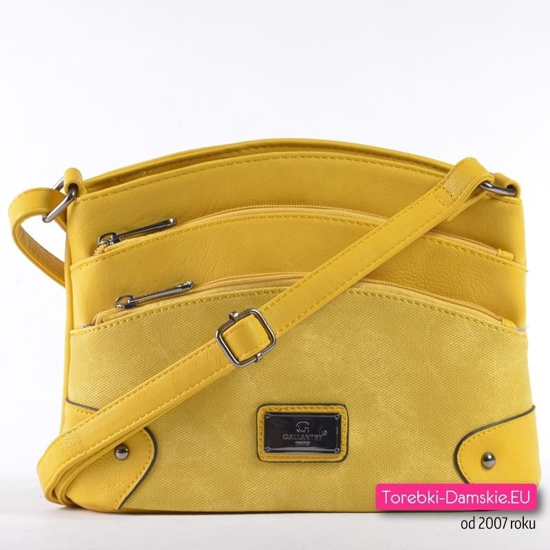 Żółta torebka z dowma kieszonkami z przodu