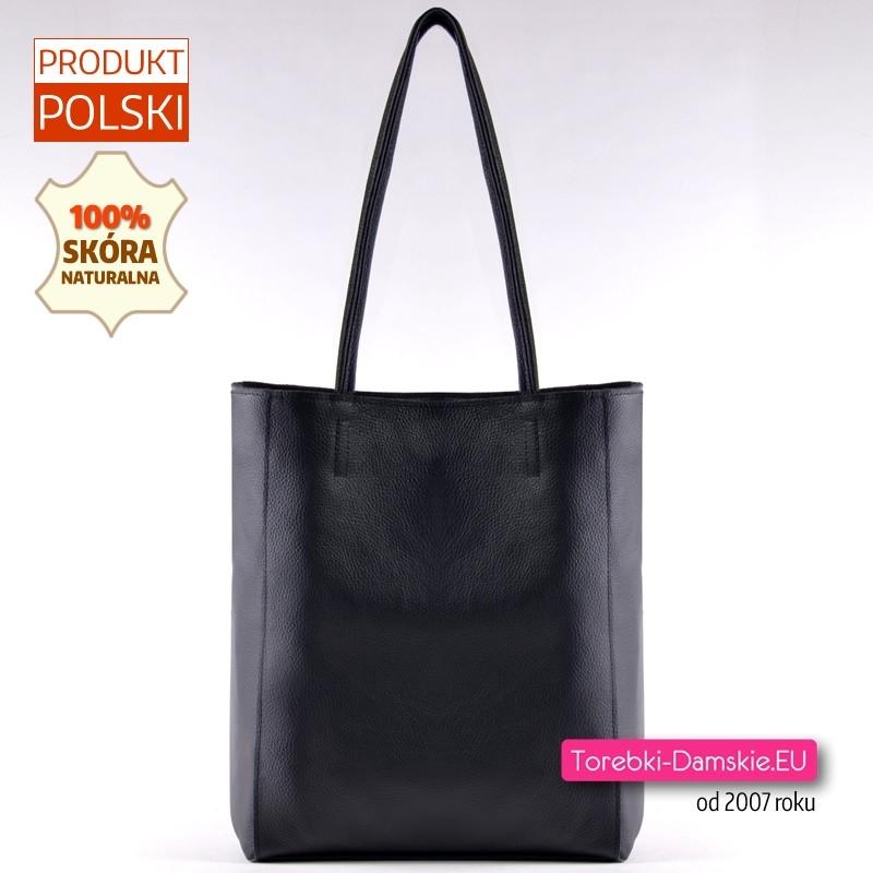 Czarny skórzany duży shopper - torba damska na ramię