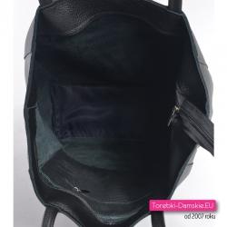 Zamykana suwakiem torba skórzana shopper