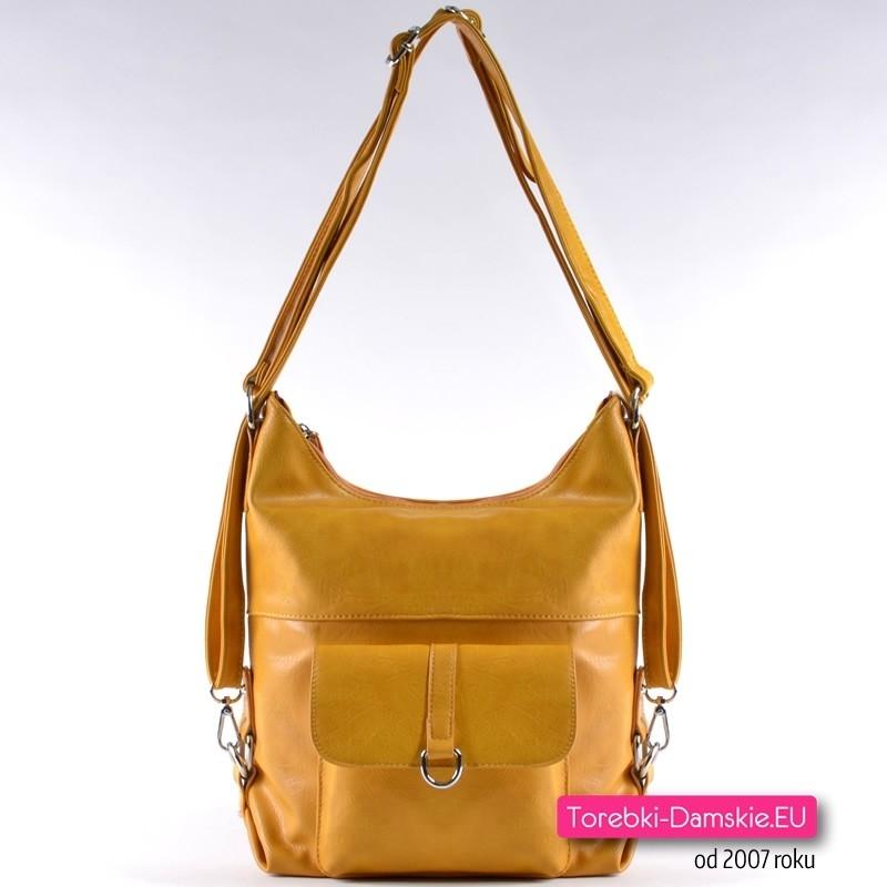 b87fb5517d445 Żółta torebka w odcieniu musztardowym - plecak