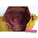 Żółta torebka i plecak w jednym z przegrodą wewnątrz