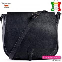 Duża czarna skórzana torba damska z klapą - listonoszka A4