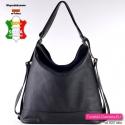 Czarna torba damska - plecak miejski skórzany