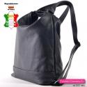 Skórzany czarny damski plecak