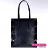 Prostokątna czarna skórzana włoska torba na ramię - gratis kosmetyczka