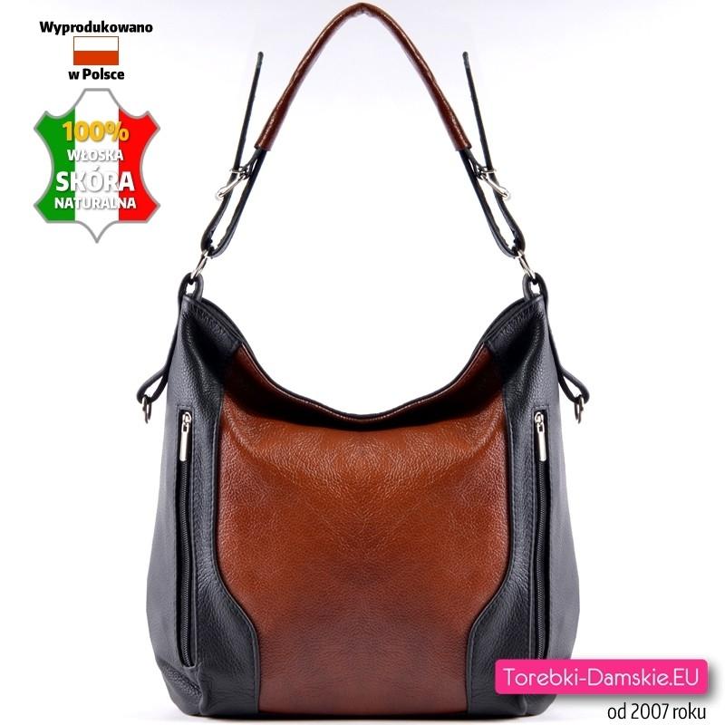 cce61af9ce760 Polska skórzana brązowo - czarna torebka na ramię lub do przewieszenia
