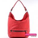 Czerwona duża torba A4 - miejski stylowy worek na ramię/do przewieszenia
