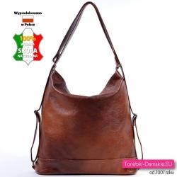 Brązowa torba skórzana - plecak damski
