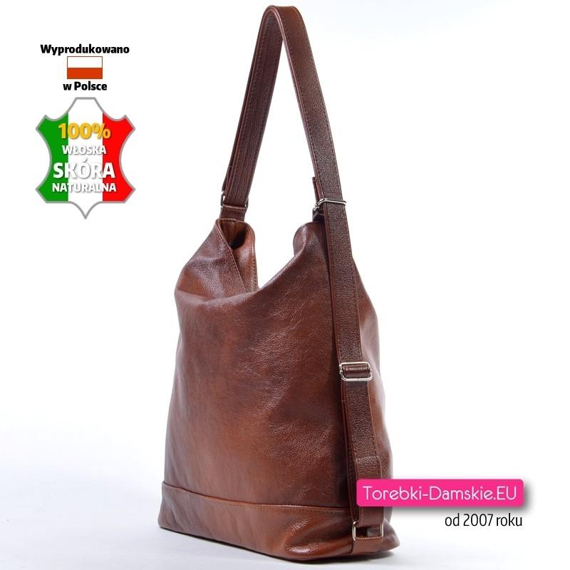 895a9014639bd Brązowa torba skórzana - plecak damski  Torba damska A4 na ramię z włoskiej  groszkowanej skóry ...