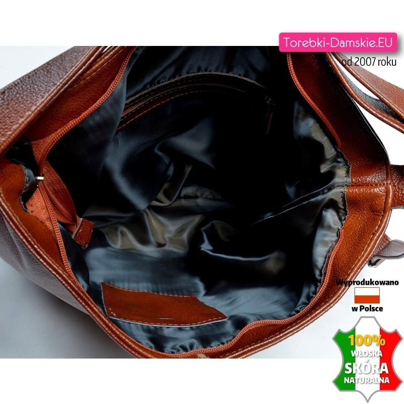 0b6f4a4233cc2 Brązowa torba skórzana - plecak damski  Torba damska A4 na ramię z włoskiej  groszkowanej skóry  Zamykana szczelnie suwakiem torba ze skóry naturalnej  ...