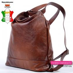 Plecako - torba damska z brązowej skóry w pięknym odcieniu