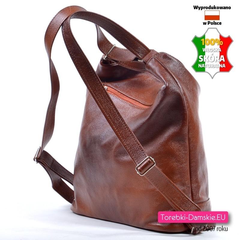 69dbb736d1740 ... Duży plecak ze skóry naturalnej w kolorze brązowym  Brązowy skórzany  plecak damski ...