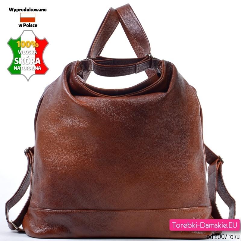 384423fdc5bbd ... Brązowy skórzany plecak damski  Brązowa duża torba ...