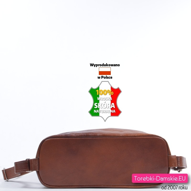 be39de3d13887 ... Brązowy skórzany plecak damski  Brązowa duża torba - plecak skórzany z  płaskim usztywnionym spodem