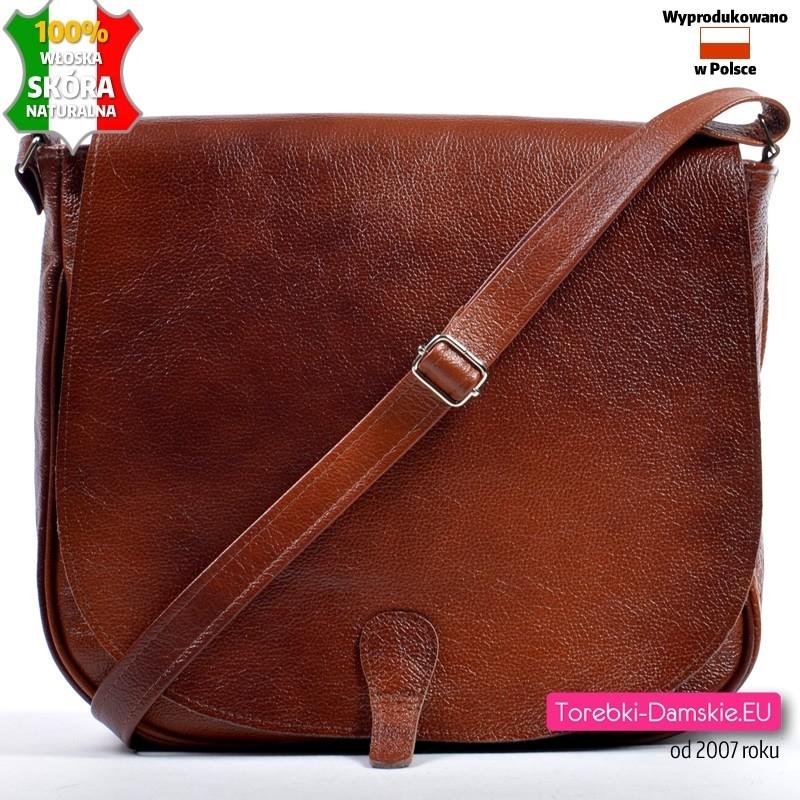 Brązowa torba z klapą ze skóry naturalnej