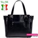 Skórzana czarna torebka włoska - kuferek z ozdobnymi suwakami