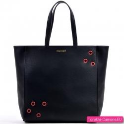 Czarna torba damska Monnari z czerwonymi ozdobnymi aplikacjami