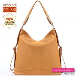 Żółta skórzana torba i plecak w jednym