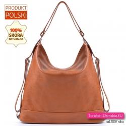 Skórzana torba - plecak damski w jasnym odcieniu brązu