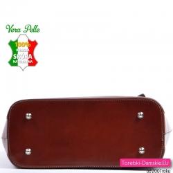Włoska skórzana torba w kolorze brązowym - kasztanowym / czekoladowym