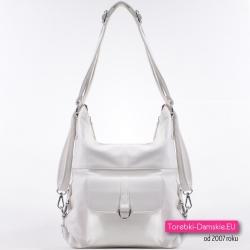Biała torba i plecak damski w jednym