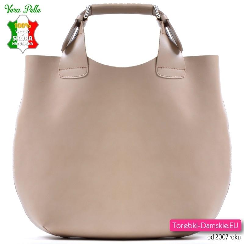 Beżowa włoska duża torba shopper ze skóry