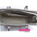 Sztywna beżowa torba shopper - teczka w biznesowym stylu