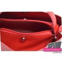 Trójkomorowa torebka damska w kolorze czerwonym