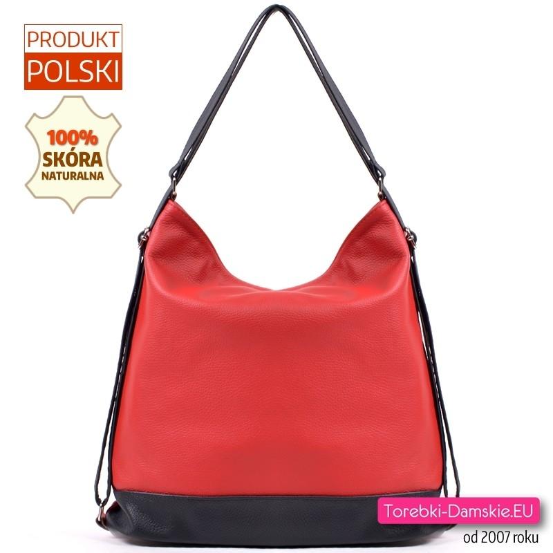 1a1549b3dc708 Czerwono - czarna torba skórzana - duży model z funkcją plecaka