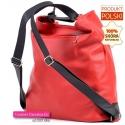 Czerwono - czarna torba skórzana i plecak damski w jednym
