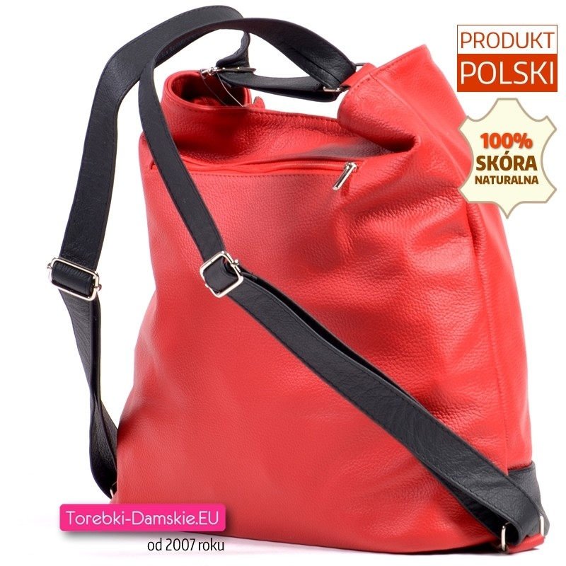 27ad93868c5e0 ... Czerwono - czarna torba skórzana i plecak damski w jednym ...