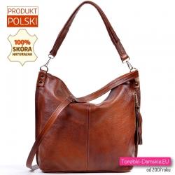 Skórkowa torba damska z dwoma paskami, ładny odcień brązu